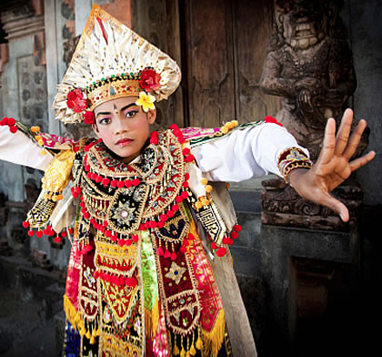 Colorful Balinese dancer costume
